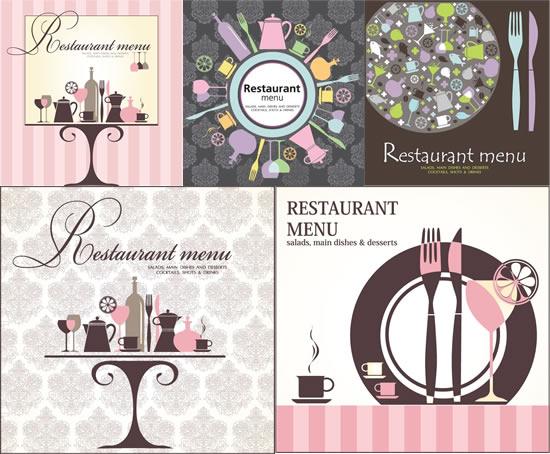 西餐厅菜谱,复古封面,餐具,茶壶,杯子,酒瓶,欧式菜单图片素材,免费