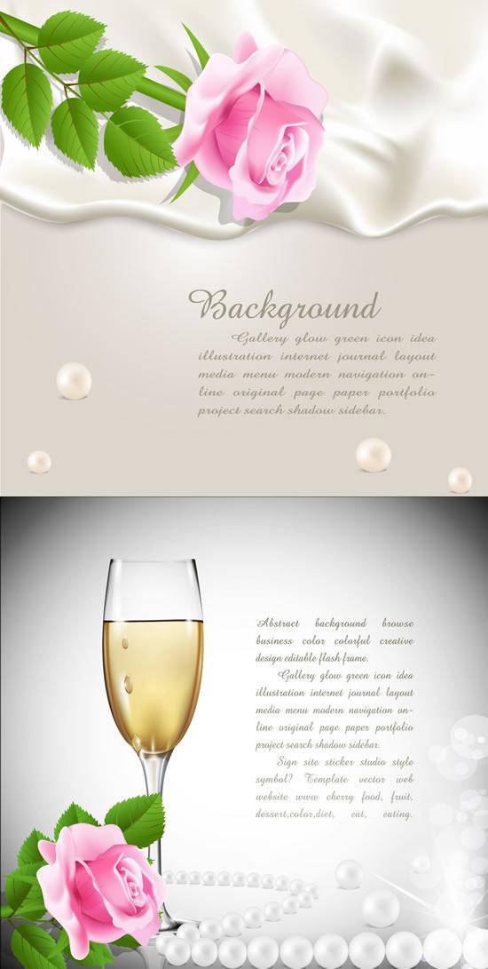 玫瑰香槟浪漫氛围背景矢量素材,,玫瑰香槟,浪漫氛围,背景,珍珠,绸布