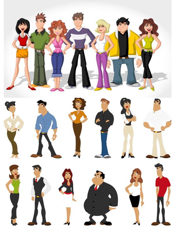 0 点 关键词: 卡通人物形象矢量素材,卡通,人物,形象,美女,帅哥,矢量