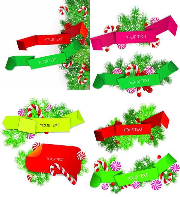 圣诞节彩色丝带