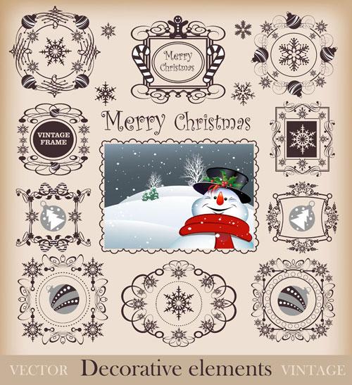 圣诞花纹边框