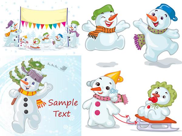 卡通圣诞节雪人