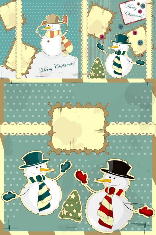 小雪人装饰画矢量素材