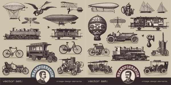 欧美,复古,老式,交通工具,矢量素材,飞艇,帆船,蒸汽机,自行车,汽车,老