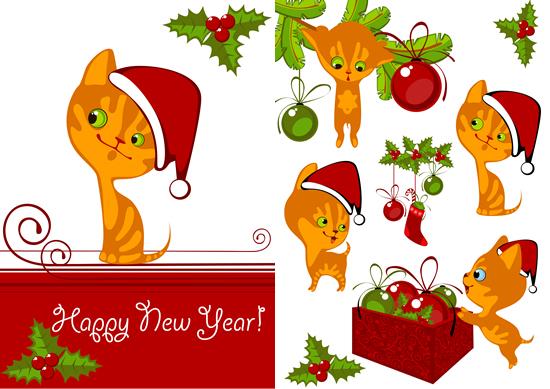 卡通圣诞小猫咪