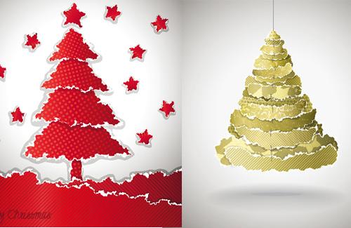 撕纸拼凑圣诞树