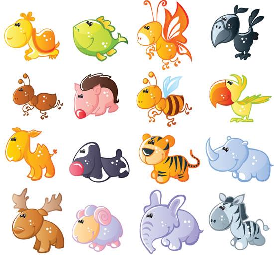 可爱卡通小动物矢量素材