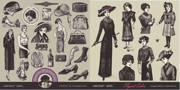 贵族,夫人,小姐,少女,剪影,线稿,高跟鞋,香水,衣服,服饰,手套,帽子图片