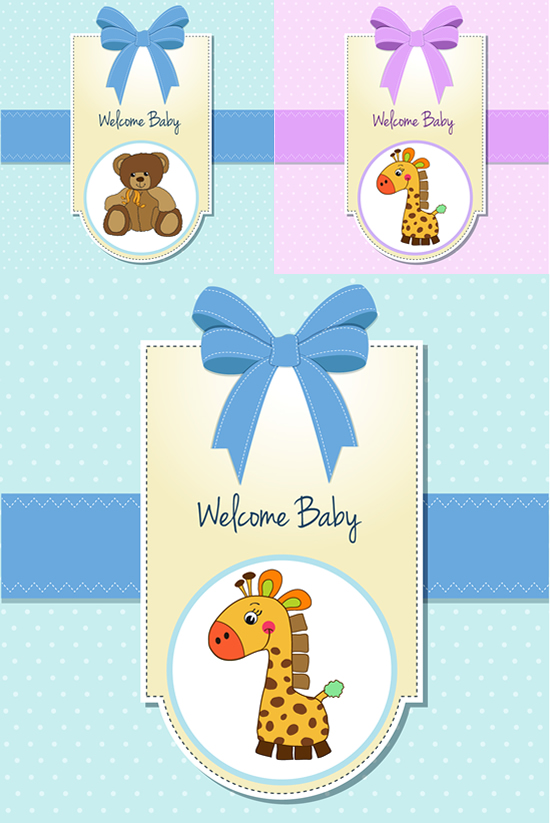 蝴蝶结卡通标签