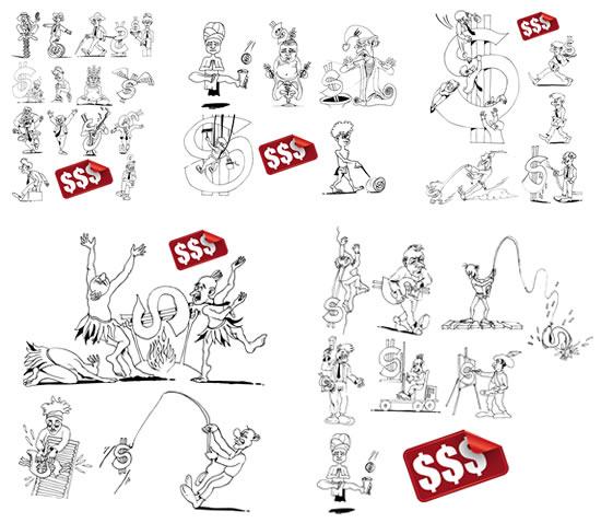 漫画线稿,搞笑人物,金钱符号