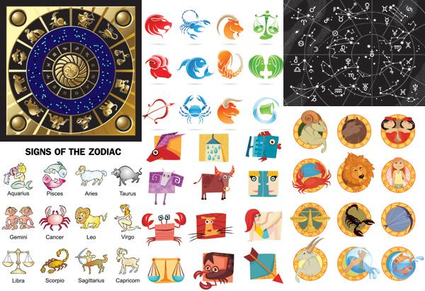 矢量图案所需点数: 0 点 关键词: 卡通12星座图案矢量素材,卡通,可爱