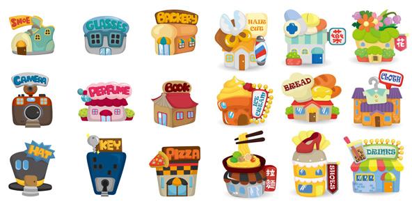 可爱,卡通,房屋,理发店,药店,花店,面包店,歌厅,面馆,shoes,服装店,房图片