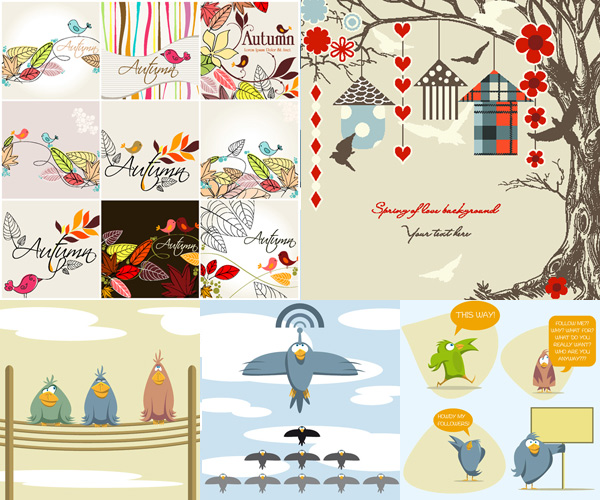 卡通,插画,图案,可爱,线稿,小鸟,对话框,花纹,纹样,线稿叶子,,线稿树