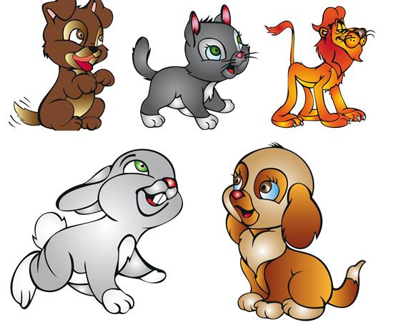 可爱卡通动物矢量图下载