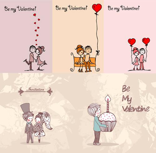 浪漫手绘情人节插画矢量素材; 手绘心形插画; 结婚插画背景矢量图