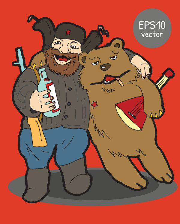 0 点 关键词: 卡通猎人与熊矢量素材,卡通,可爱,猎人,打猎者,熊,喝酒