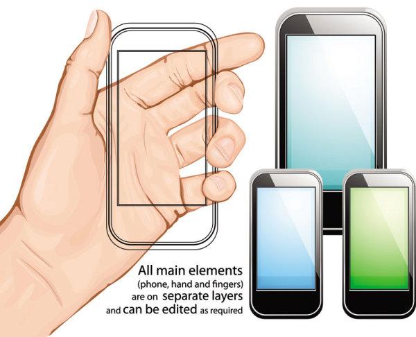 触屏智能手机_矢量科技