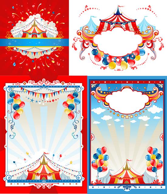关键词: 马戏团矢量素材,,表演帐篷,彩色气球,放射性线条,潮流花纹