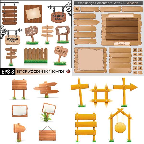 木板指示牌矢量 素材中国sccnn Com