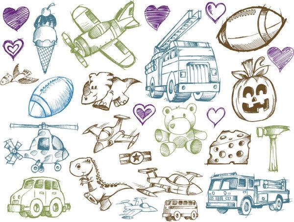 线稿卡通玩具_矢量卡通物品