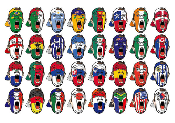 人像,头像,涂鸦,国旗,巴西,瑞士,德国,美国,韩国,澳大利亚,冰岛,英国