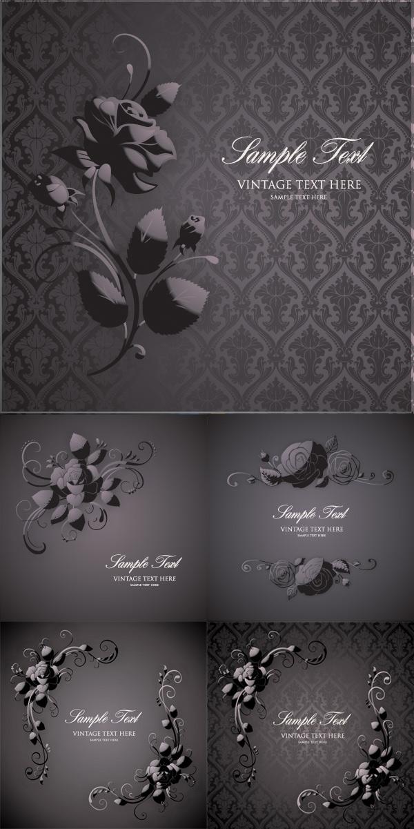 欧式古典玫瑰花纹背景矢量素材下载