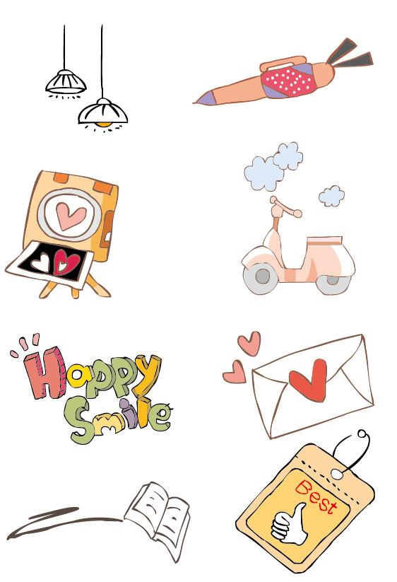 可爱手绘插画_素材中国sccnn.com