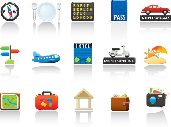矢量素材下载,旅行箱,餐具,指南针,摩托车,飞机,亭子,导航,皮夹,汽车
