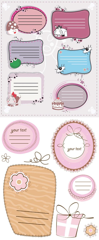 卡通婴儿框架矢量素材下载,卡通框架,婴儿框架,可爱花边,青蛙头像,蛋糕,眼睛,蘑菇,奶牛,花,EPS矢量素材下载