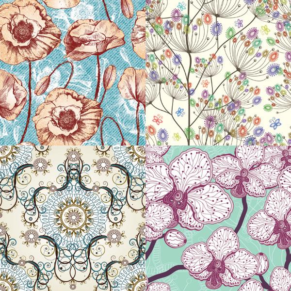 复古纹理矢量图383大全,e网素材库  (600x600); 素雅花卉图案矢量素材