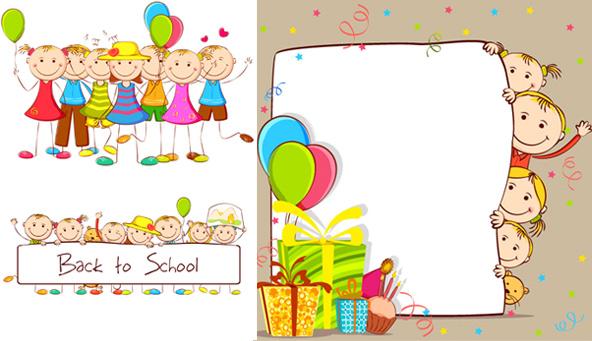 卡通,手绘,插画,学生,儿童,礼物,气球,信纸,可爱,欢乐,快乐,开心,开学
