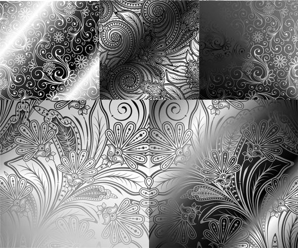 欧式复古花纹矢量素材,欧式花纹,复古,植物花纹,黑色背景,花纹纹样,墙贴,背景图片,灯光背景,EPS矢量素材下载