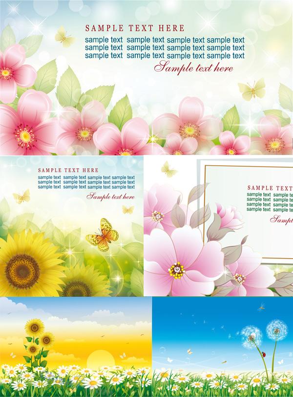 春天,炫彩花卉,向日葵,蒲公英,七星瓢虫,天空,鲜花,蝴蝶,菊花,蜻蜓