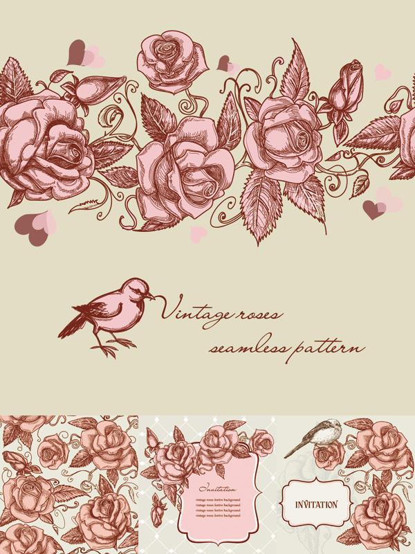 玫瑰花,小鸟