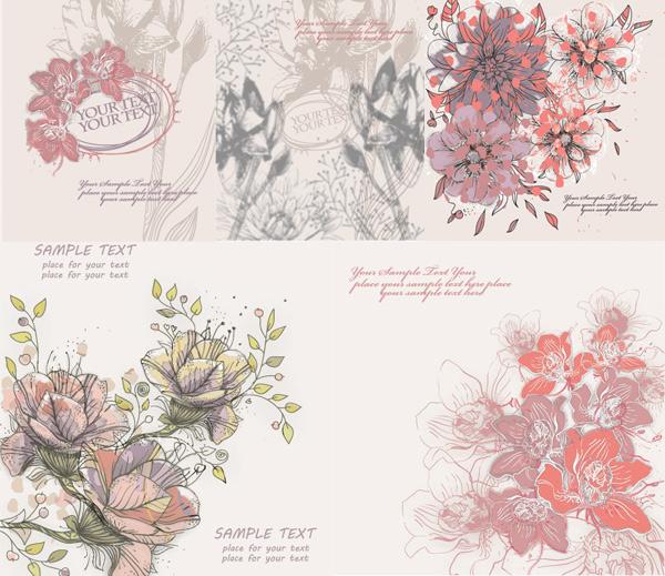 古典插画花卉矢量图,古典花纹,花纹背景,插画艺术,底纹背景,信纸图片