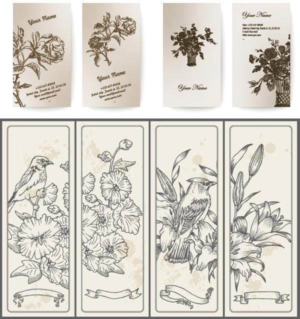 古典花朵卡片矢量素材,古典,花朵,花纹,线条,手绘,鸟,丝带,卡片,矢量