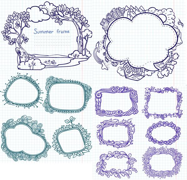 手绘卡通花边矢量素材,手绘,卡通,对话框,花边,边框,花纹,线条,花样,纹样,矢量素材,EPS格式