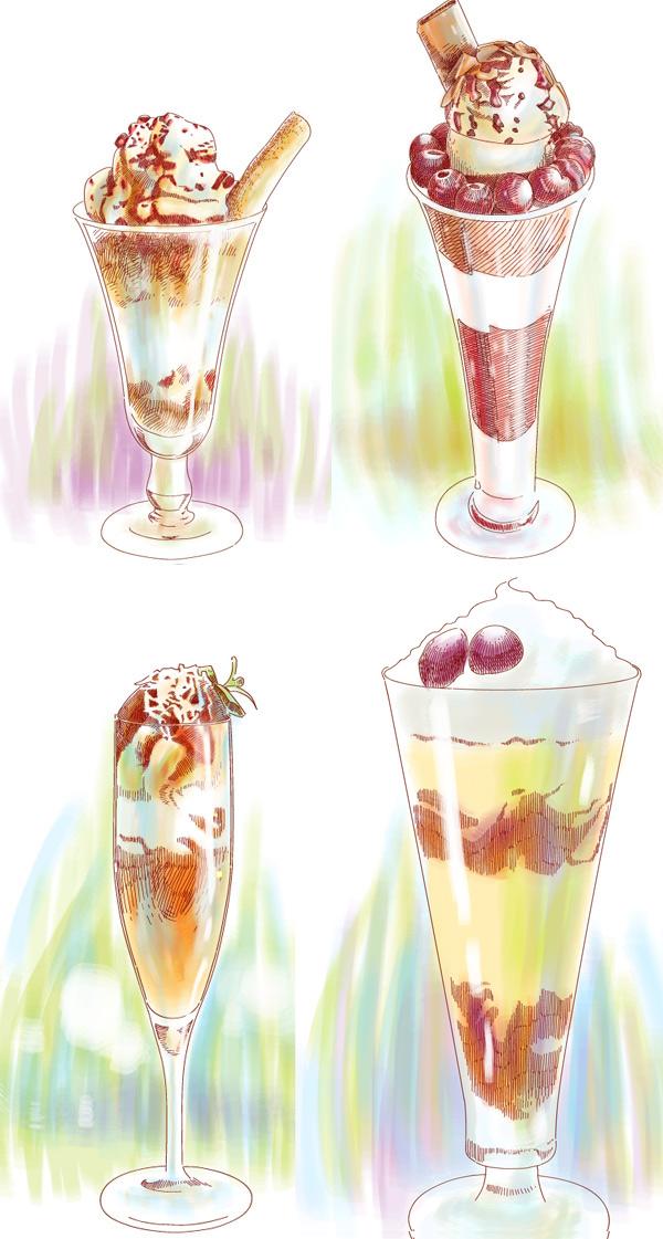 手绘冰淇淋餐车