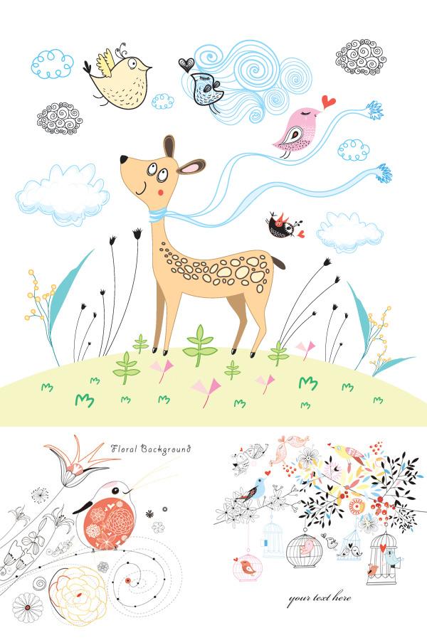 线描可爱卡通动物