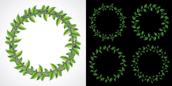 点 关键词: 绿色植物花圈矢量素材,绿色植物,树叶,藤蔓,小草,植物边框