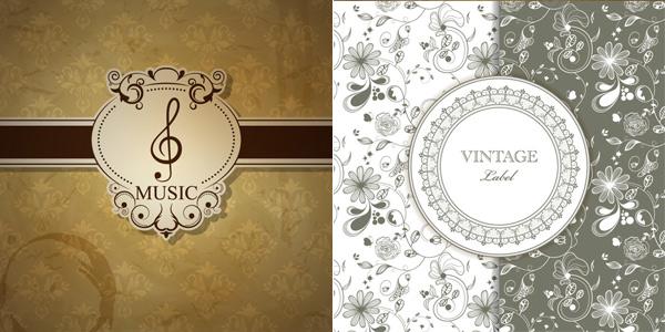 古典花纹背景矢量素材