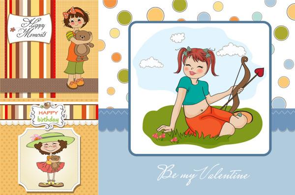 卡通女孩卡片