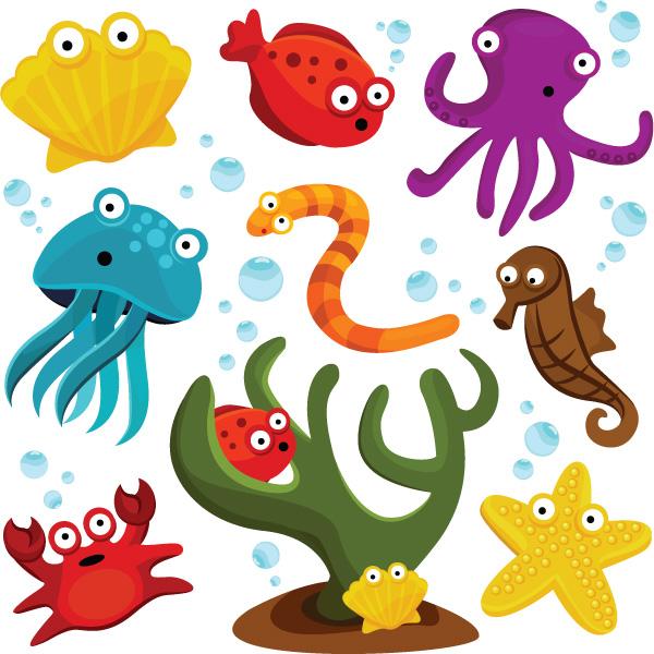 卡通形象,海洋生物,贝壳
