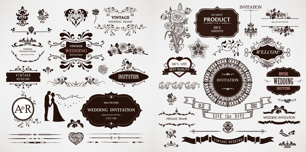 矢量花纹所需点数: 0 点 关键词: 婚礼装饰花纹矢量素材,欧式花纹