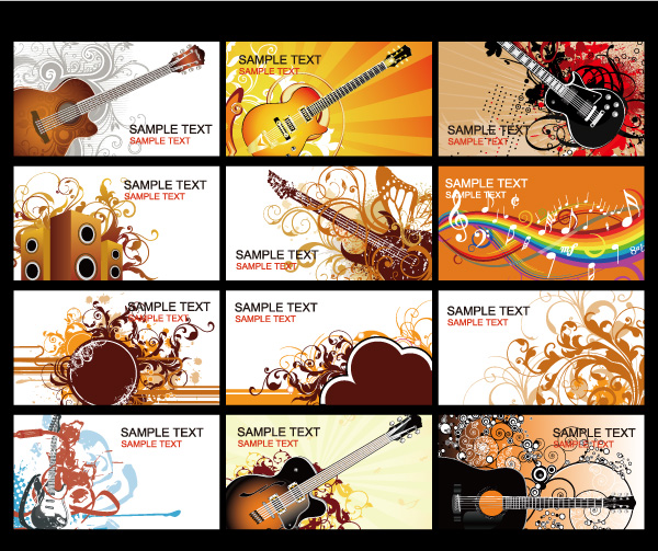 Business Card Music Vector Images Design And Template