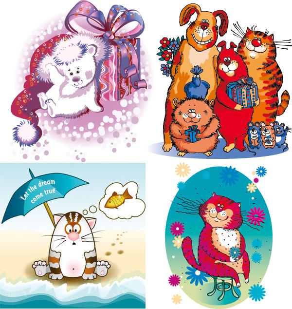 0 点 关键词: 有趣的卡通动物矢量图,卡通动物,可爱动物,卡通插画