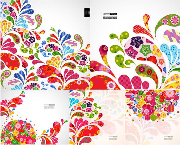 炫彩,花纹,花样,纹样,花朵,网格,虚线,线条,花瓣,图案,背景,矢量素材