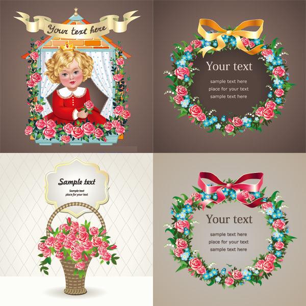 关键词: 玫瑰花纹边框矢量素材,玫瑰花,花纹边框,花篮,卡通小孩,蝴蝶