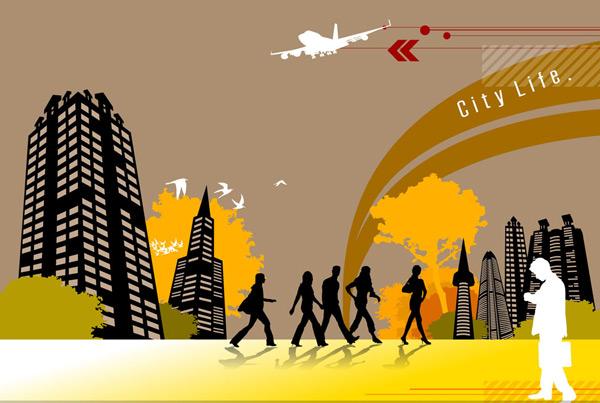矢量素材,矢量图,剪影,城市,建筑物,高楼大厦,楼房,大楼,树木,大树
