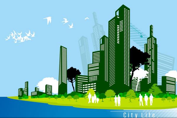 城市休闲人物剪影,城市建筑物树木与人物剪影矢量